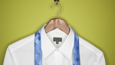 15 Mar 2007 --- Dress shirt and tie on hanger --- Image by © Eekhoff Picture Lab/Blend Images/Corbis